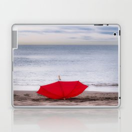 Red Umbrella at the beach Laptop & iPad Skin