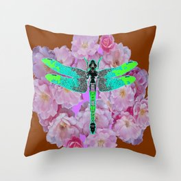 EMERALD DRAGONFLY PINK ROSES COFFEE BROWN Throw Pillow