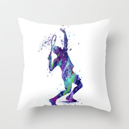 Tennis Player Watercolor Art Print Sports Nursery Home Decor Kids Room Sports Painting Gifts Throw Pillow