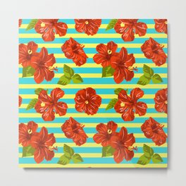 Summer Red Hibiscus Seamless Pattern Metal Print