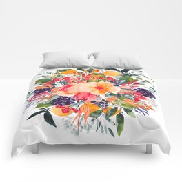 Autumn watercolor bouquet Comforters