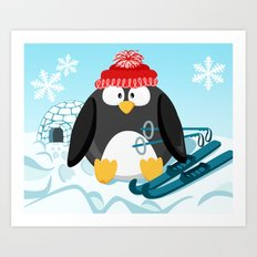 Penguin in January month series Art Print