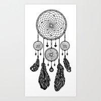 Dreamcatcher (Black & White) Art Print