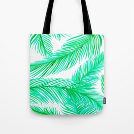 Green and White Tropical Palms Pattern Tote Bag