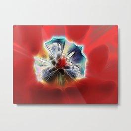 Red Tulip Fractalius Metal Print