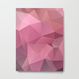 Abstract triangles polygon in soft pink rose colors Metal Print