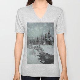 Blue Winter Landscape Unisex V-Neck