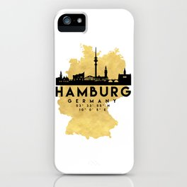 HAMBURG GERMANY SILHOUETTE SKYLINE MAP ART iPhone Case