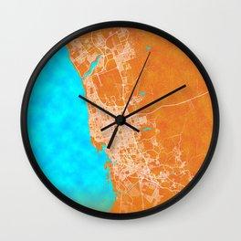Jeddah, Saudi Arabia, Gold, Blue, City, Map Wall Clock