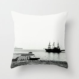 ships on a calm sea black and white Throw Pillow