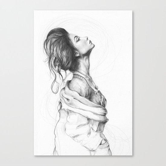 Pretty Lady Pencil Portrait Fashion Art Canvas Print