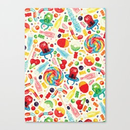 Candy Pattern - White Canvas Print