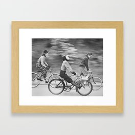 Women Riding Bicycles black and white photography / black and white photographs Framed Art Print