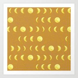 Mustard Moon Phase Art Print