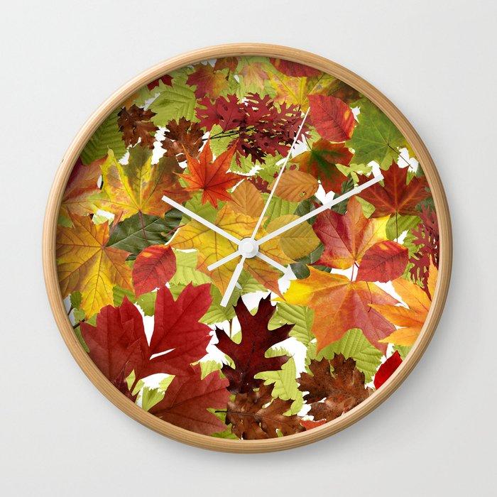 Autumn Fall Leaves Wall Clock