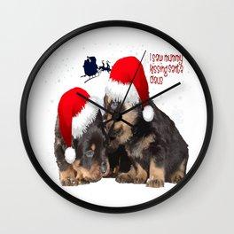 Puppy White Christmas I Saw Mummy Kissing Santa Claus Wall Clock