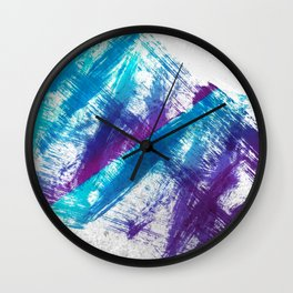Cerulean Blue and Purple 90s Brush Abstract Wall Clock