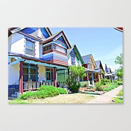 Colorful Victorian Homes In Denver Canvas Print