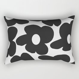 Black Retro Flowers White Background #decor #society6 #buyart Rectangular Pillow