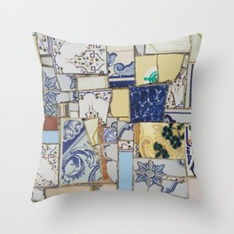 Broken ceramic tiles patchwork Throw Pillow