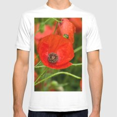 Wild Red Poppies MEDIUM Mens Fitted Tee White