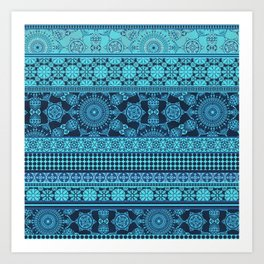 Ornate Moroccan in Blue Art Print