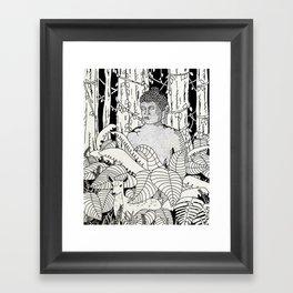 The Deer and Buddha Framed Art Print