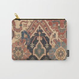 Geometric Leaves I // 18th Century Distressed Red Blue Green Colorful Ornate Accent Rug Pattern Carry-All Pouch