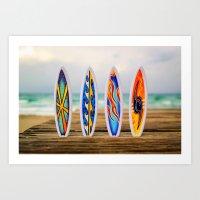 surfboard Art Prints featuring Surfboard by Leonardo Vega
