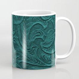 Deep Teal Tooled Leather Coffee Mug