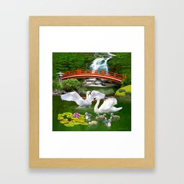 Swans and Baby Cygnets in an Oriental Landscape Framed Art Print