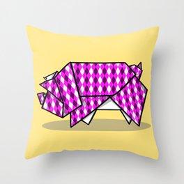Origami Pig Throw Pillow