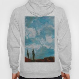 Cypress Trees encaustic wax painting by Seasons Kaz Sparks Hoody