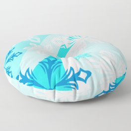 Blue Flower Art Winter Holiday Floor Pillow