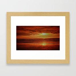 Sunset At Long Beach Framed Art Print