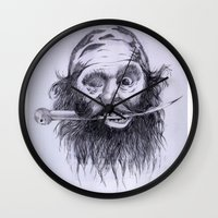 charlie Wall Clocks featuring Charlie by Joe Cardoso
