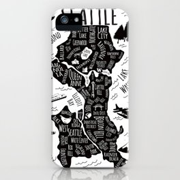 Seattle Illustrated Map in Black and White - Single Print iPhone Case