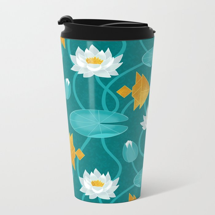 Tangram goldfish and water lillies Metal Travel Mug