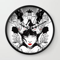 witchcraft Wall Clocks featuring Witchcraft by Sergio Saucedo
