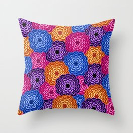 Dahlia Rainbow Multicolored Floral Abstract Pattern Throw Pillow