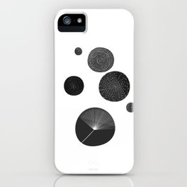 Back and White Retro Mod Flowers by Friztin iPhone Case