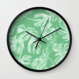 Tropical Palm Leaves Green Wall Clock