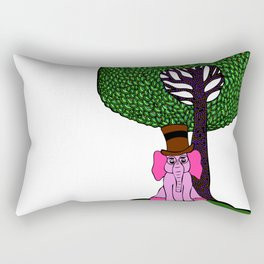 Elephant with Hat & Glasses Rectangular Pillow