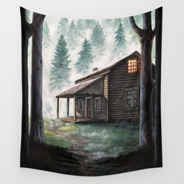 Cabin in the Pines Wall Tapestry