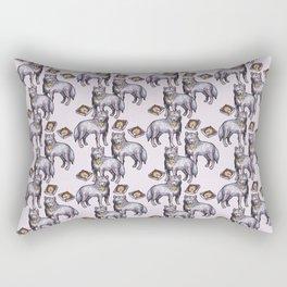 wolves eating pizza pattern Rectangular Pillow
