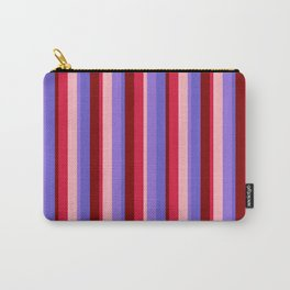Crimson, Light Pink, Purple, Slate Blue, and Maroon Colored Lines Pattern Carry-All Pouch