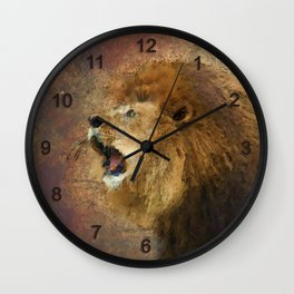 Roaring Lion in Watercolor and Ink Painterly Wall Clock