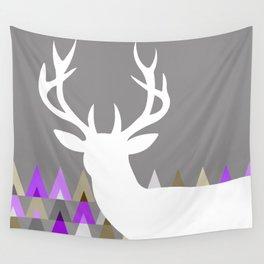 Deer Head Geometric Triangles | purple grey Wall Tapestry