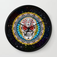 day of the dead Wall Clocks featuring Day of the Dead by Gary Grayson