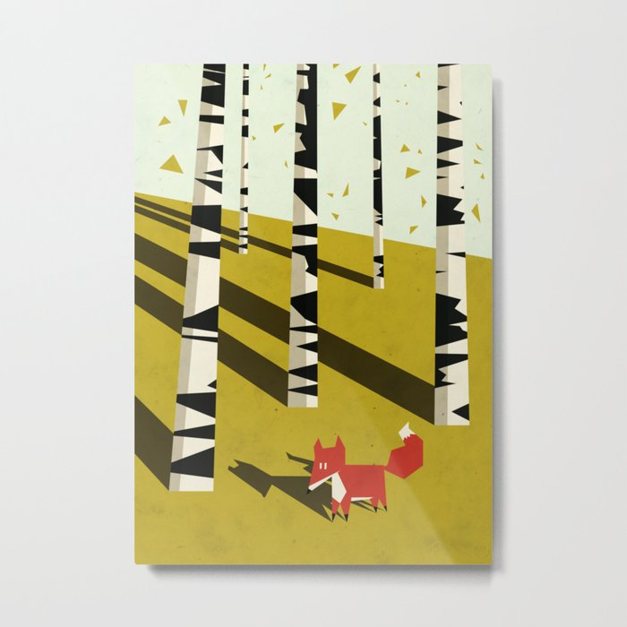 fox in birchland Metal Print